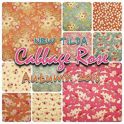 Tilda Autumn Cabbage Rose Floral Country Cotton Patchwork Fabric Fat Quarters