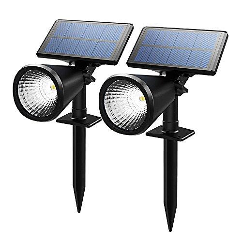 Topop 2 Stücke Solarleuchten Scheinwerfer im Freien Außenbeleuchtung wasserdicht Wand-Licht, Sicherheits-Nachtlicht.