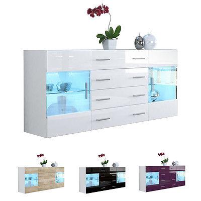 Sideboard Kommode TV Board Vitrine Anrichte Bari V2 Weiß - Hochglanz & Naturtöne