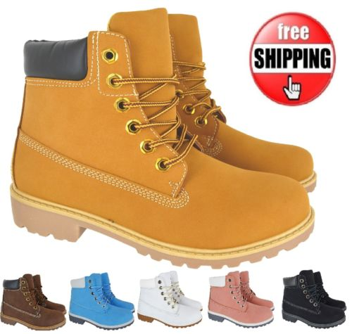 NEW LADIES WOMENS RUBBER GRIP SOLE ANKLE WINTER COMBAT LACE UP SHOES BOOTS SIZE