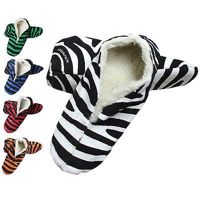 Zebra Hausschuhe Pantoffeln Leder ABS Stopper Damen Herren ANTIRUTSCH Gr 35 - 47