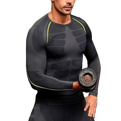 New Men Compression Outdoor Sports Tight Shirts Fitness GYM Base Layer Tops M-XL