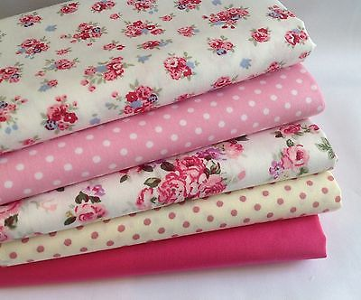 New Range 100% Cotton Fabric, Pink, Cream Cerise Spot Floral Quilting, Sewing,