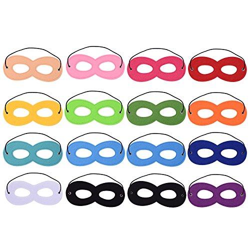 Blulu 16 Stück Superhero Masken Filz Masken Masken Aaugenmaske Halbmasken Party Masken mit Elastischen Seil für Party