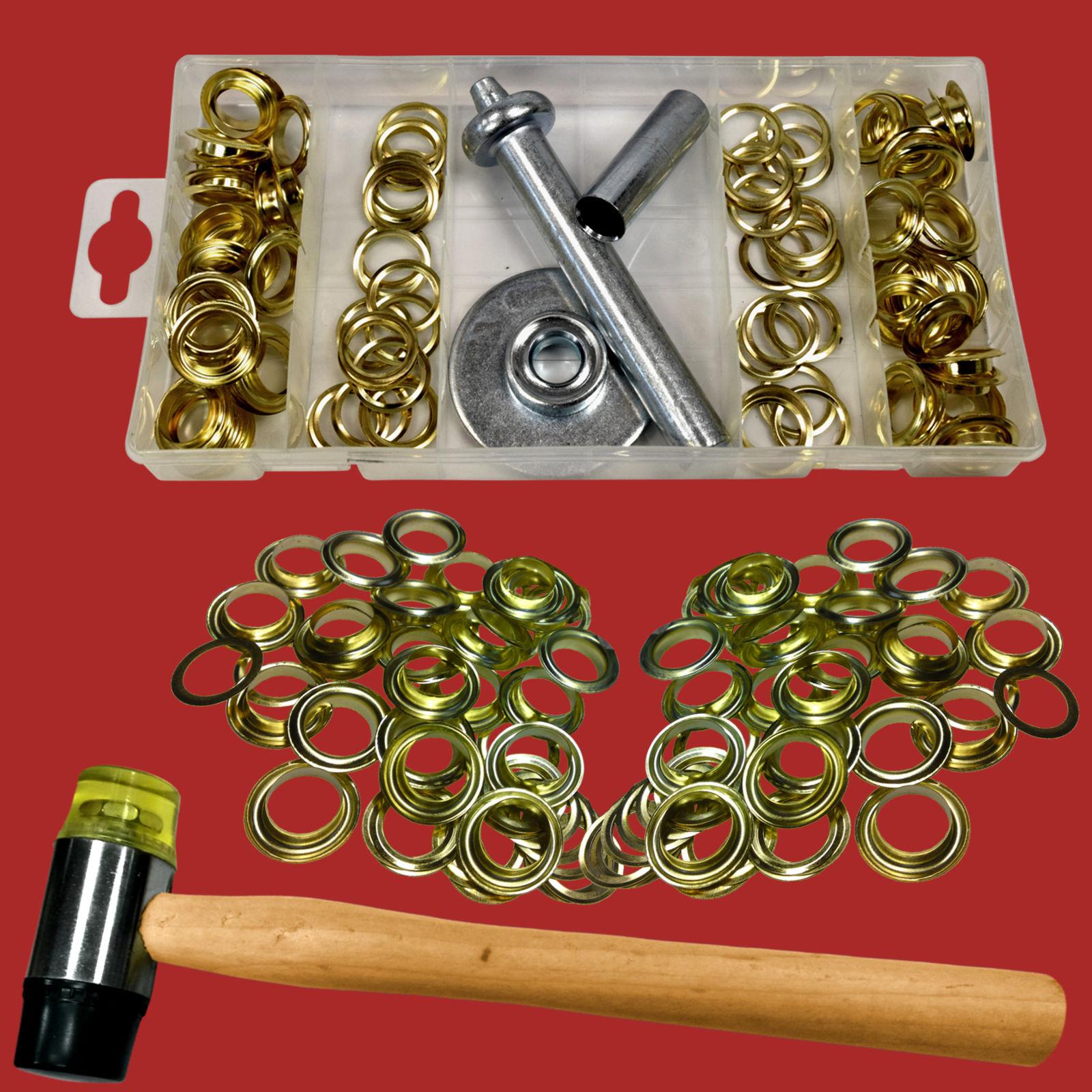 200-tlg. Ösen-Installations-Set: Schonhammer+Locheisen+Einschlagstempel+98 Ösen