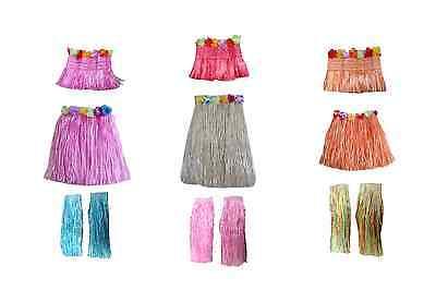 WOMEN'S LADIES FLORAL HAWAII HULA FANCY DRESS FLOWERS SKIRT LEG CUFFS BRA LUAU