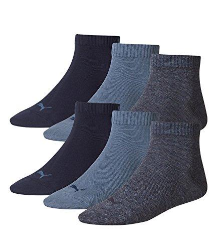 PUMA Unisex Quarter Quarters Socken 6er Pack, Größe:43-46;Farbe:denim blue (460)
