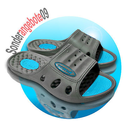 Scandi Badelatschen Badeschuhe Gr.36 37 38 39 40 41 Hausschuhe Schuh grau blau