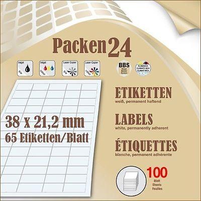 Schachtel(n) á 100 Blatt Packen24 Etiketten 38x21,2 mm