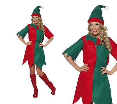Ladies Christmas Elf Fancy Dress Costume Xmas Elfs Outfit S-XL