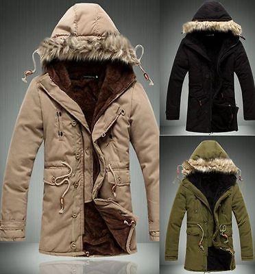 Herren Damen Warm Winterjacke Unisex Kapuze Jacke Parka kurzer Mantel Fleece