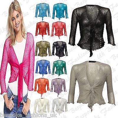 Women Fine Knit Tie Front Boleros Ladies Top Cardigan 3/4 Sleeve One Size 8-22
