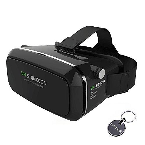 VR Headset 3D VR Gläser 360 ° Ansicht Immersive Virtual Reality Headset für 3D-Filme Video-Spiele VR-Box, kompatibel mit iPhone 7 Plus / 6s Plus Samsung Galaxy Serie und andere Smartphon9Black0e