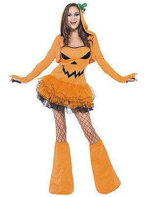 Sexy Kürbis Halloween Damenkostüm orange schwarz