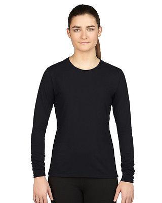 Gildan Damen Langarm  T-Shirt Sportshirt einfarbig antibakteriell Freshcare®