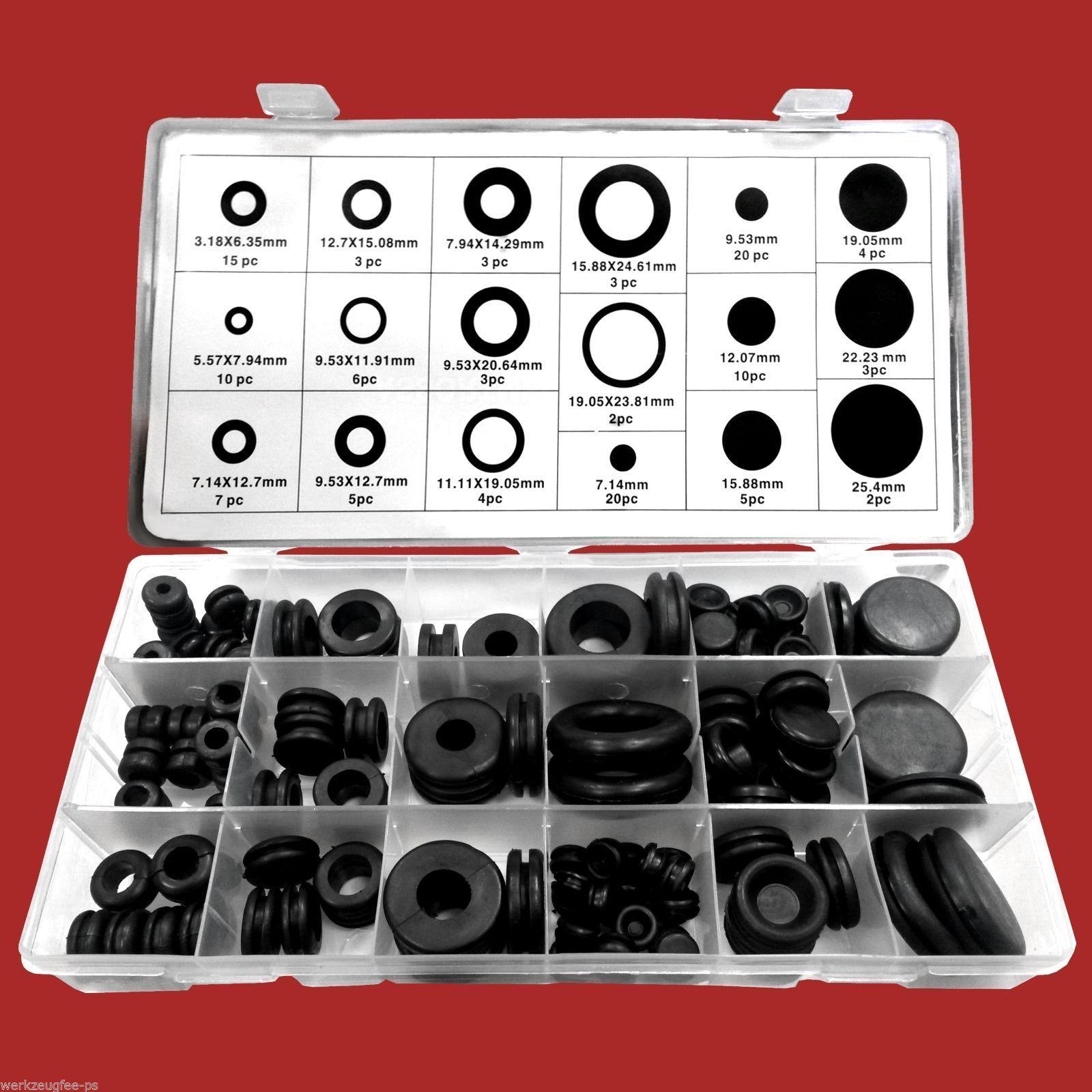 125-tlg. Gummi-Durchgangstüllen-Sortiment Gummistopfen Set Box Blindstopfen Satz