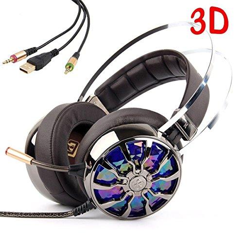 KINDEN Vibration Gaming Headset Virtual Surround-Sound 3,5 mm mit Mikrofon Kopfhörer Vibrationsfunktion Geräuschisolierung Lautstärkeregler Over-ear für PS4 XBox One PC Laptop Handy