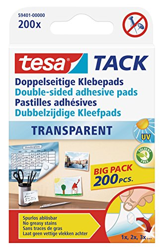 tesa doppelseitige Klebepads TACK, große Packung mit 200 Pads