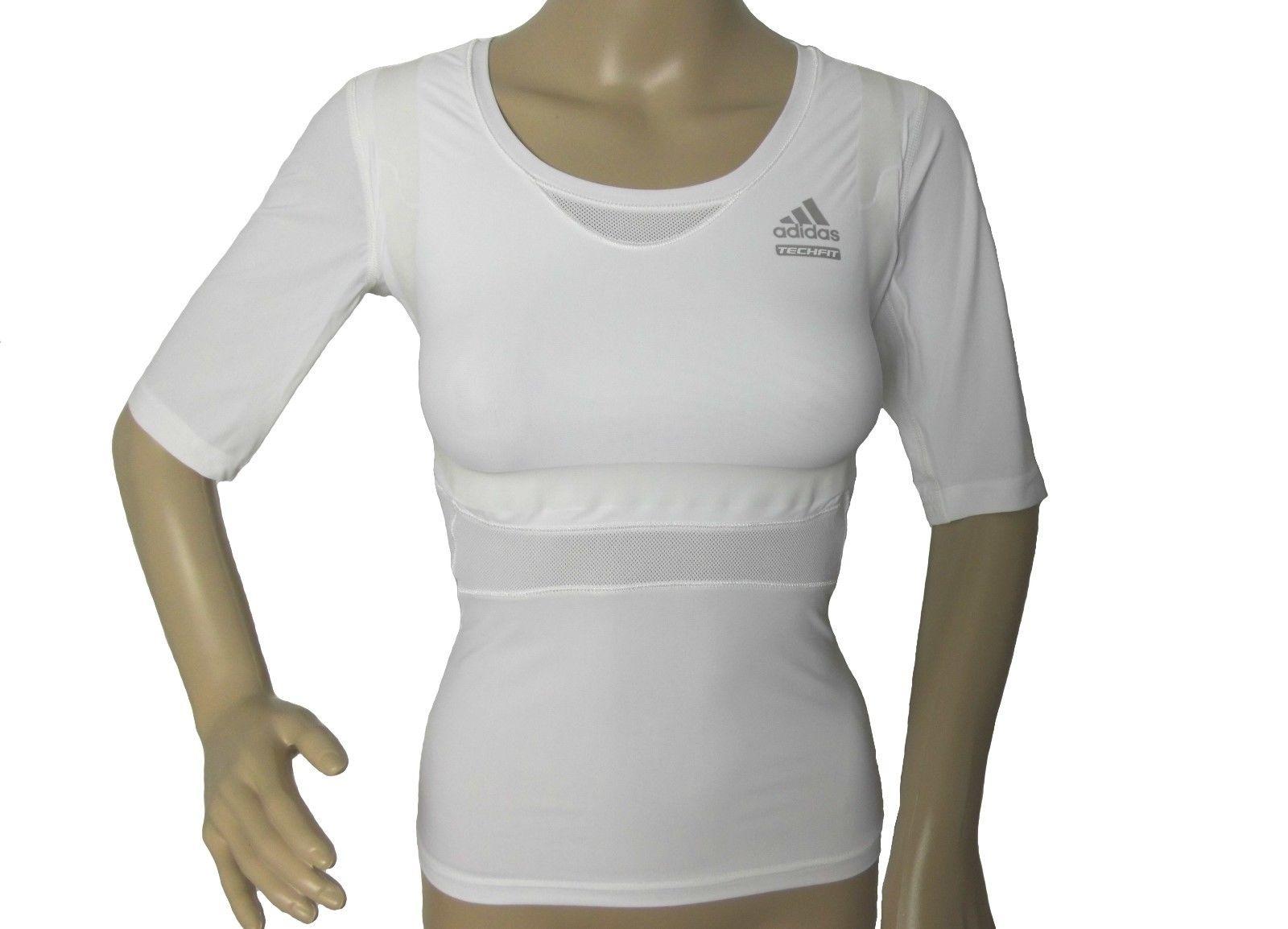 Adidas TECHFIT Damen Run T-Shirt Sport Shirt Tee Training CLIMACOOL Weiß NEU