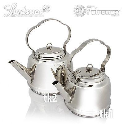 Petromax Teekessel Edelstahl 1,5 oder 3 Liter mit o. ohne Untersetzer landshop24