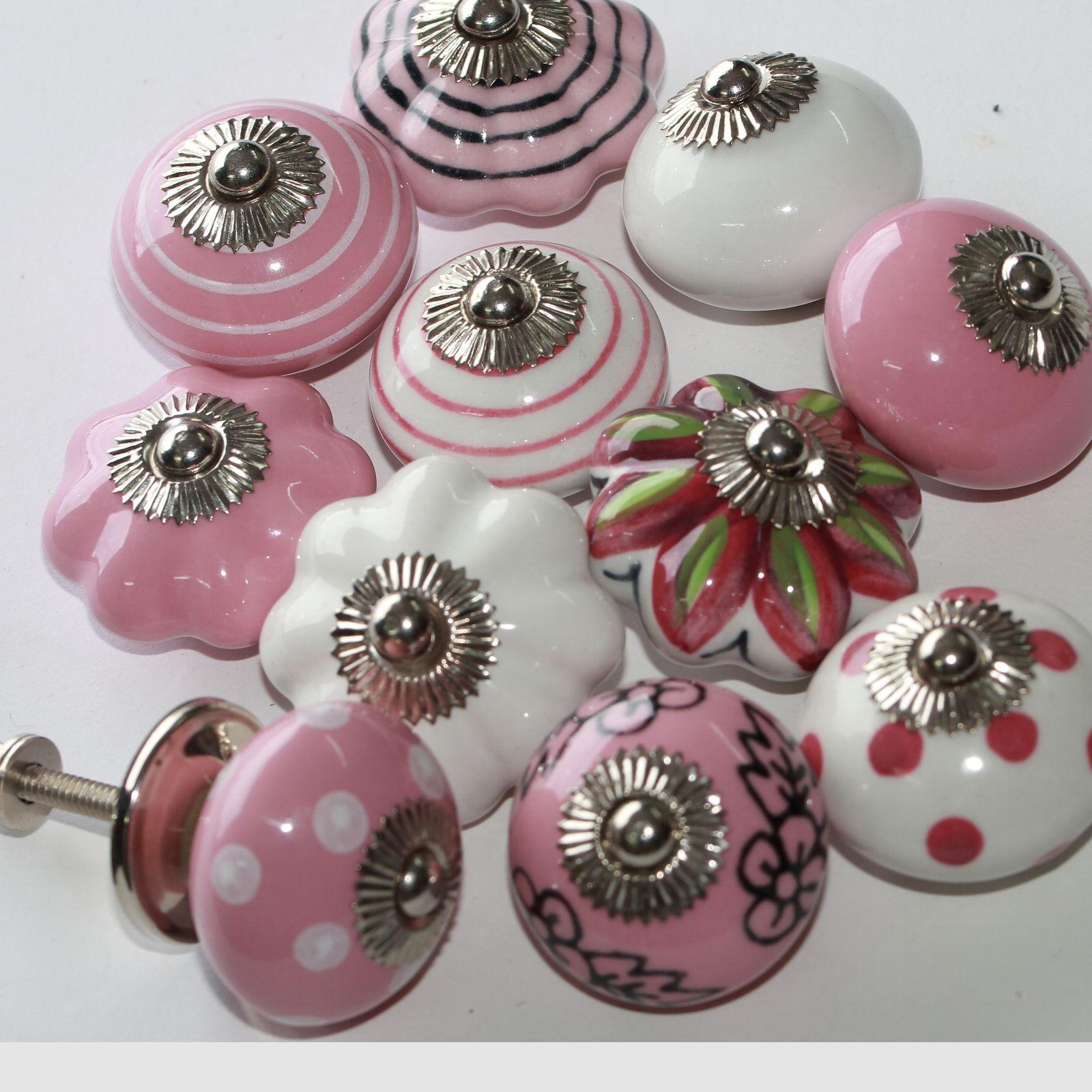 Möbelknopf,Keramik-Möbelgriff,Knauf,Möbelknöpfe  Möbelknäufe Indien Rosa