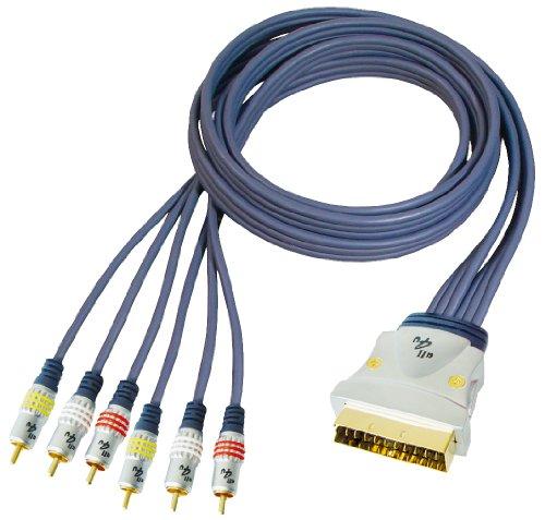 All4u BBV 56 Videokabel (Scartstecker - 6x Cinchstecker, Flachkabeltyp, verchromter Vollmetallstecker) 10 m blau