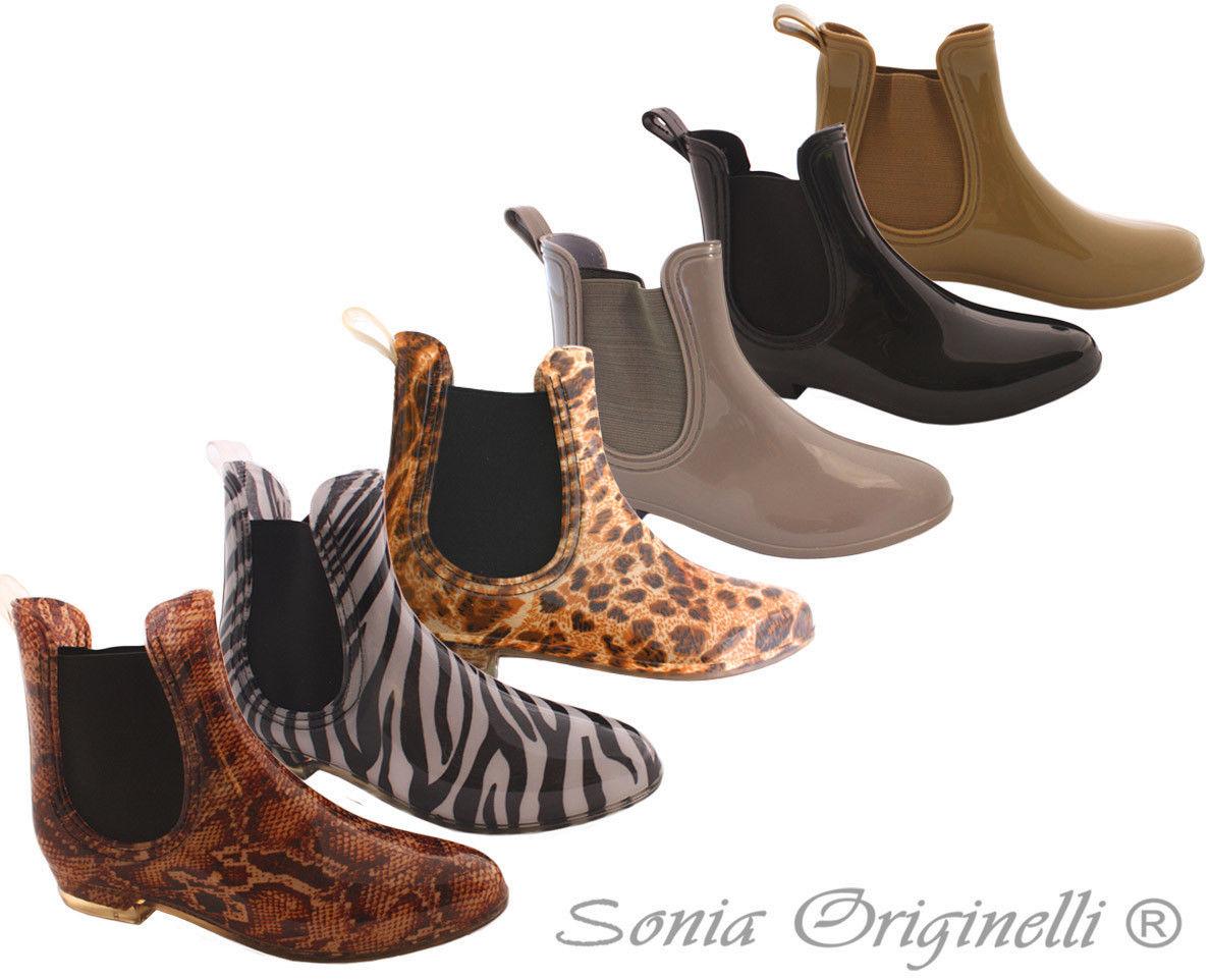 Stiefelletten Ankle Boots Chelsea Animal Tierprint schlicht Regenstiefel RS001