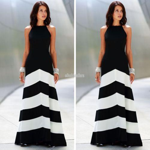 Damen Boho Maxi Kleid Schwarz Weiße Streifen Damen Träger Chiffon Rock Kleider
