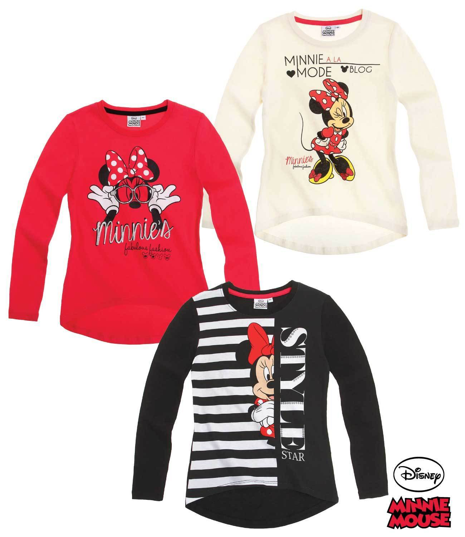 Langarmshirt Disney Minnie Mouse T-Shirt Pullover Mädchen Gr.104 116 128 134 140