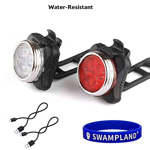 SWAMPLAND LED Fahrradbeleuchtung Set, USB Wiederaufladbare LED Fahrradlicht Set, Fahrradlampe Set inkl, LED Frontlichter und Rücklicht, 4 Licht-Modi USB Aufladbare Fahrradlichter, Fahrradlampen Set