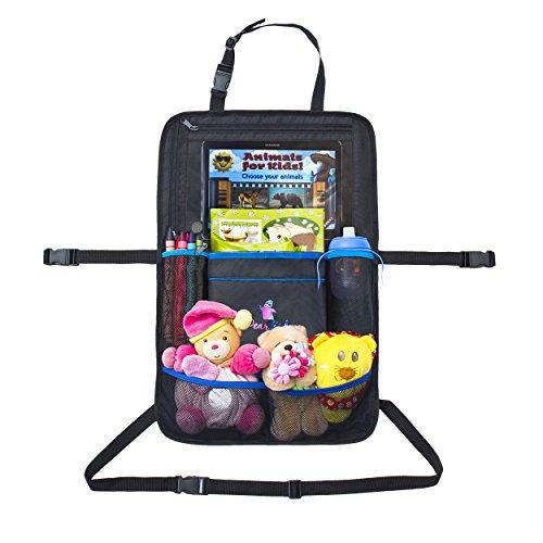 Auto Rücksitz Organizer | Dear Kid Rücksitztasche | Rücksitzschoner Tasche für Kinder mit iPad Tablet Halter | wasserdichter Rückenlehnenschutz | Mehrzwecknutzung als Kinderwagen Organizer | 58 x 38 cm Groß