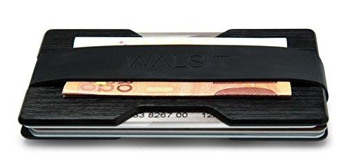 Premium Kreditkartenetui aus stabilem Aluminium mit Geldklammer - RFID & NFC Schutz - für bis zu 16 Scheckkarten - mit 2 Größen-Bänder inklusive - Geldbörse / Portemonee für Minimalisten