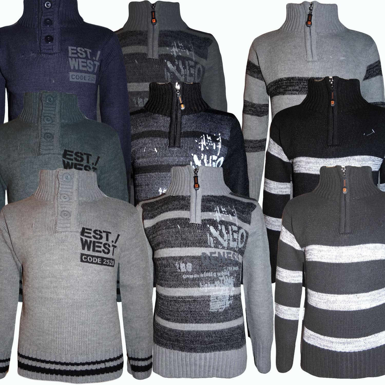 Kinder Coole Pulli Jungen Pullover Strickpullover Sweater Stehkragen 92-146