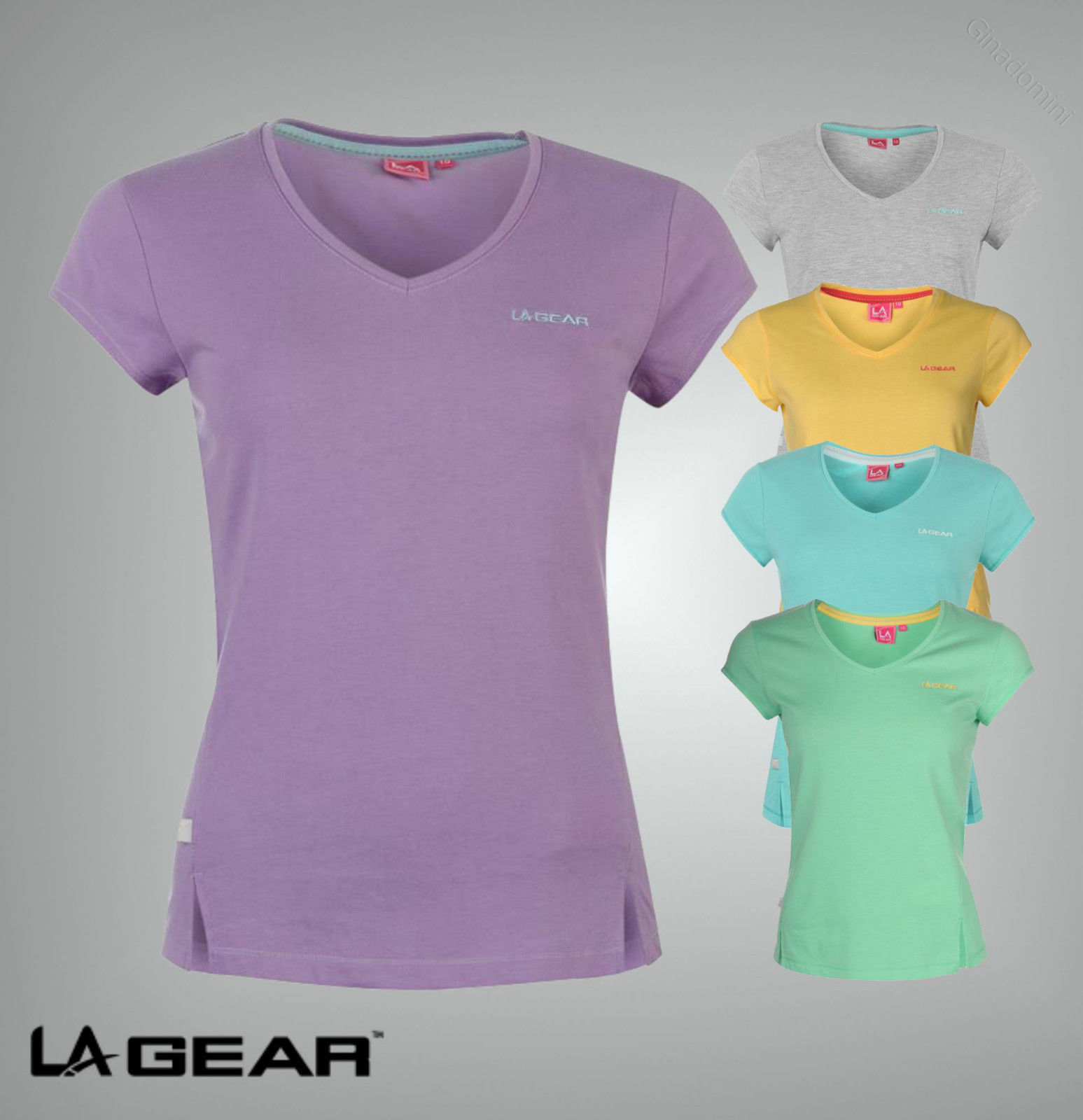 New Ladies Branded LA Gear Basic Everyday Workout Top V Neck T Shirt Size 8-20