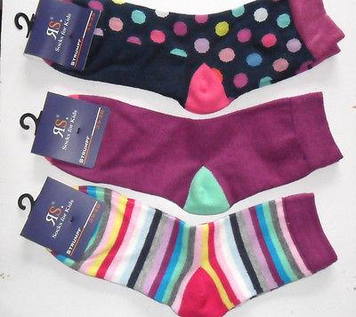 Socken Riese Strümpfe 3Paar mehrfarbig Punkte Streifen Baumwollmischung RS