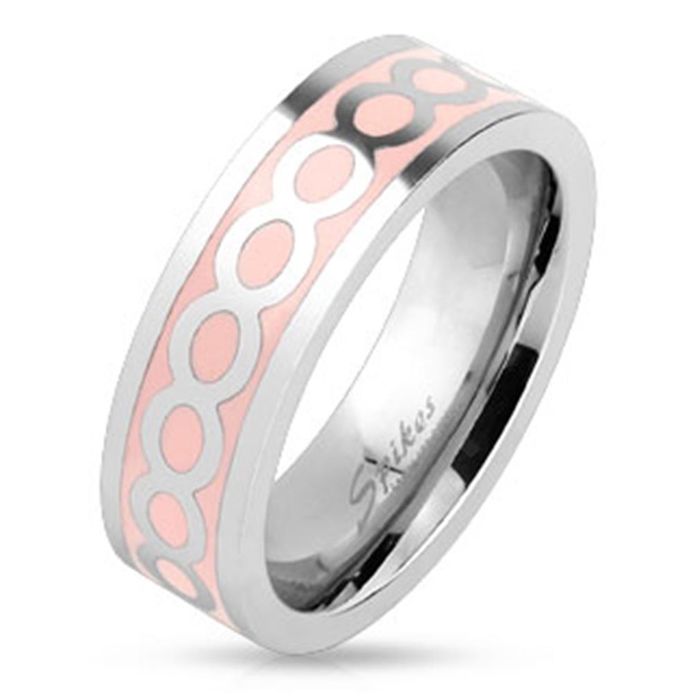 silber pink Emaille Edelstahl Ring 6mm breit Ringgrößen 47 (15) - 61 (19,5)