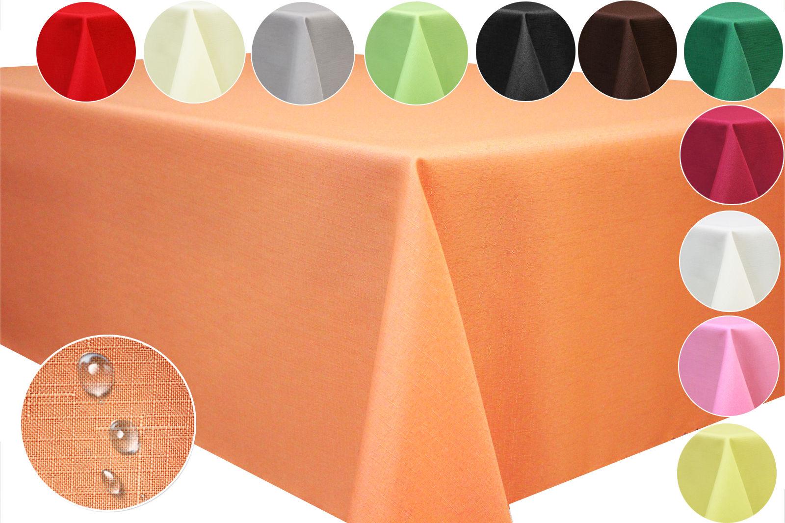 Tischdecke Leinen Optik Tischläufer Lotus Effekt Fleckschutz Gartentischdecke