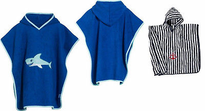 Frottee Poncho Hai o. maritim Playshoes Gr. S oder L Kapuzentuch Bademantel