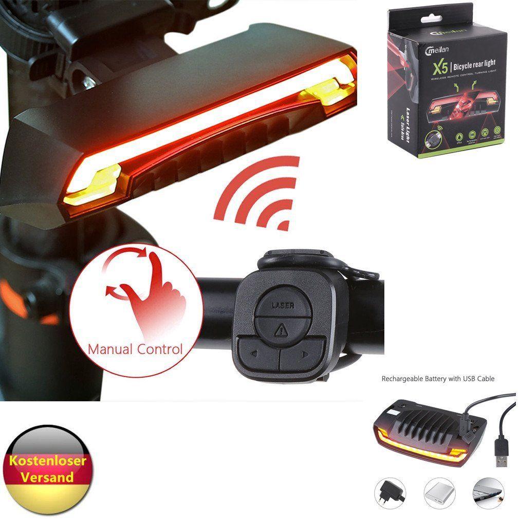 Wiederaufladbare LED Fahrradlampe Rücklicht Fahrrad Beleuchtung Fernbedienung ES