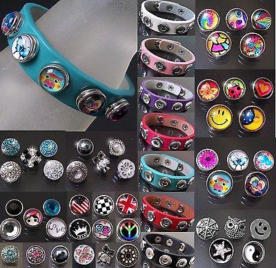 Damen Armband LederLook Druckknöpfe Klick Button Knöpfe Kinder Druckknopf VA17=