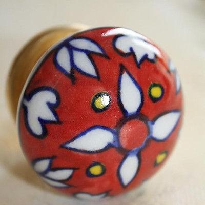 Möbelknopf,Keramik-Möbelgriff,Knopf Möbelknöpfe  Möbelknäufe Indien Blumen Rot