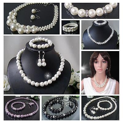 Halskette Collier Perlenkette Schmuckset Ohrringe Armband Perlen Schmuck VS8#