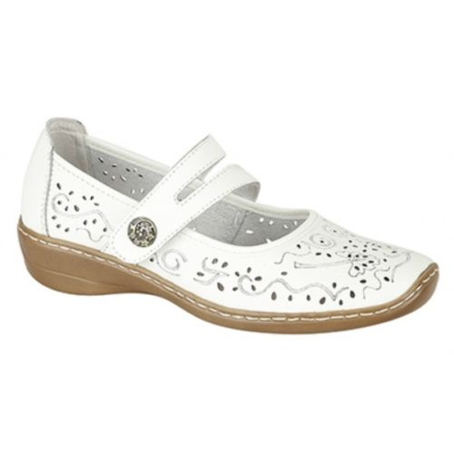 Boulevard Ladies Womens Leather Mary Jane Wedge Casual Comfy Summer Shoes White