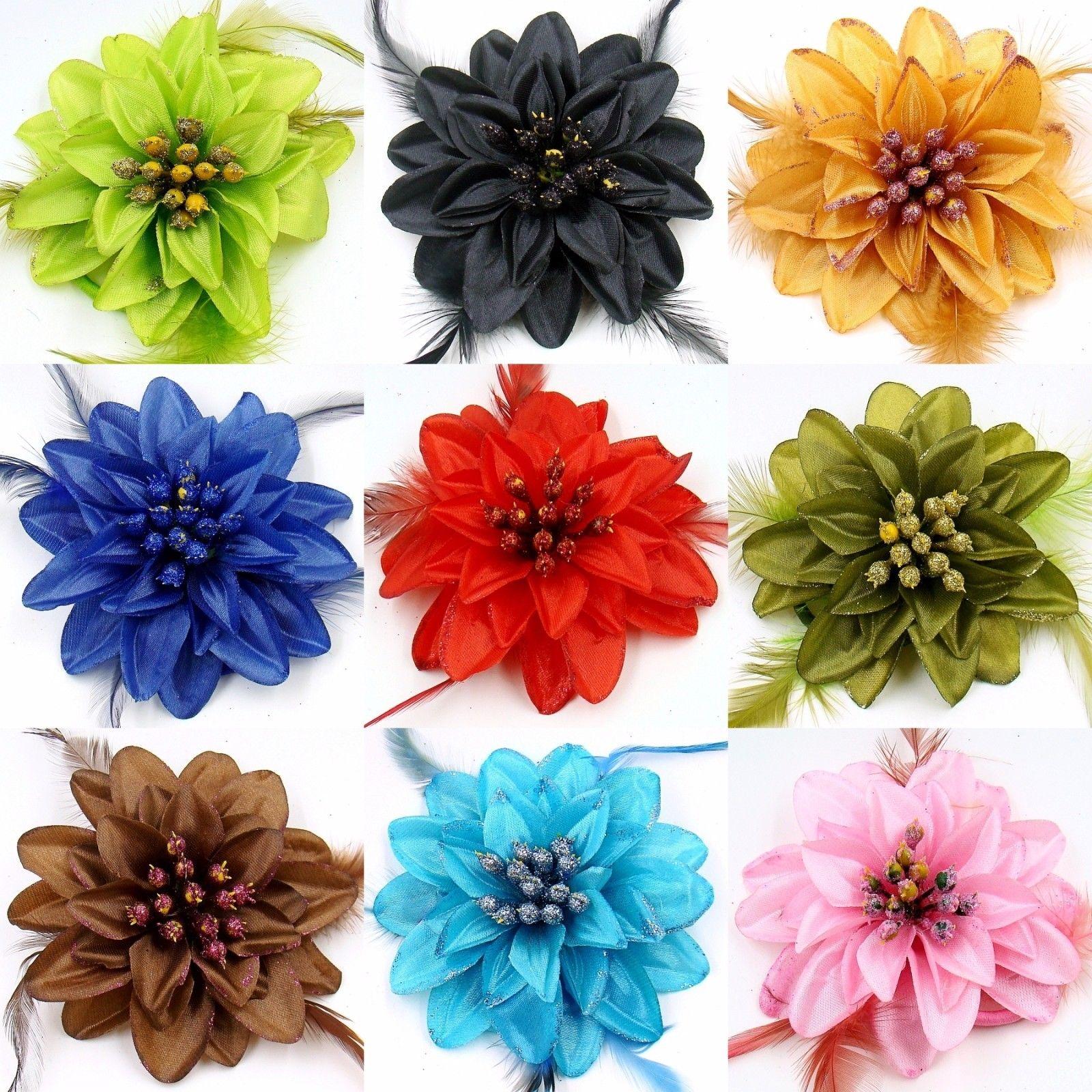 HAARBLUME HAARGUMMI Ansteckblume 2 in 1 Haarblüte Federn Zopfband Brosche