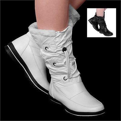 Damen Stiefel Winter Stiefel Winterschuh Schnürer Outdoor Boots Flach Neu F32