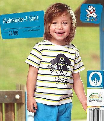 Kleinkinder T-Shirt 100% Baumwolle 74/80, 86/92, 98/104 Weiß Totenkopf Öko-tex