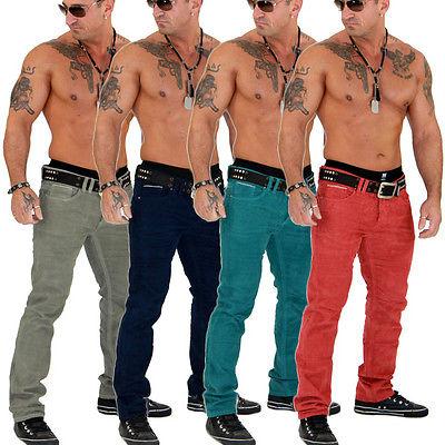 Super Stylische Clubwear Design Herren Chino Cord Jeans Hose Top Neu 899