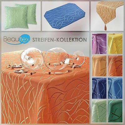 Streifen Kollektion, Tischdecke Kissen Läufer Set, Artikel u. Farbe wählbar