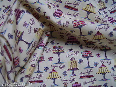 Rose & Hubble Lovely Cakes & Stands - Cotton Poplin  Cream Fabric 112cm wide
