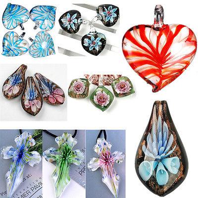 Blumen Murano Glas Anhänger Perlen Charm Schmuck für Ketten Halskette Armband